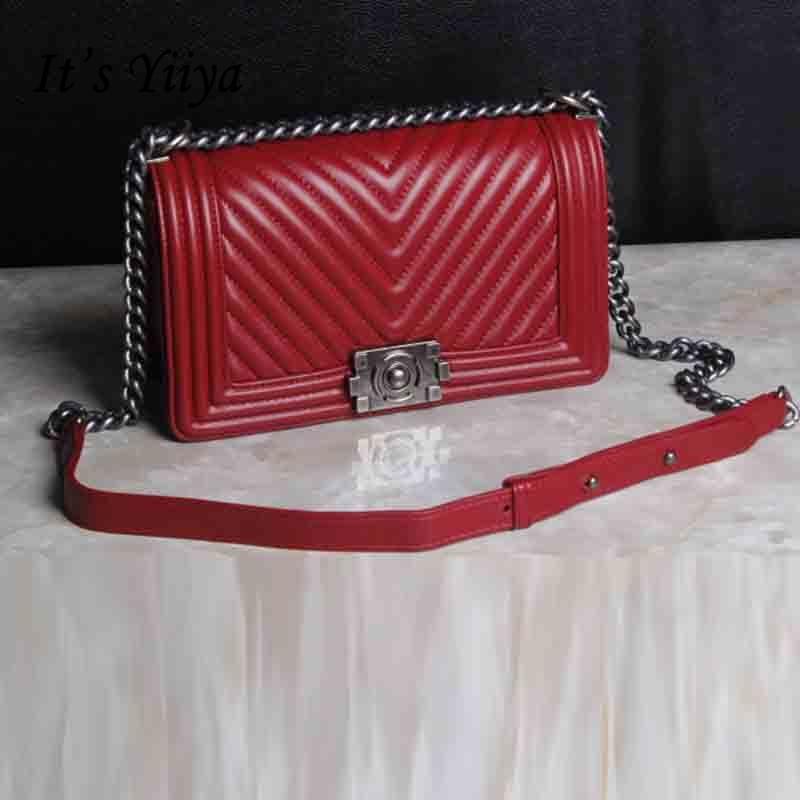It's YiiYa Red Black Hot Genuine Leather Women HandBag Diamond Lattice Luxury Messenger Bags With Cell Phone Pocket SS401 карабин black diamond black diamond rocklock twistlock