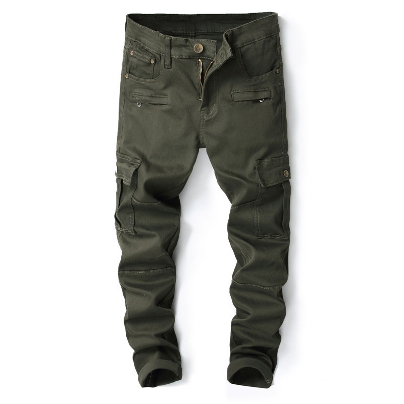 MORUANCLE New Mens Military Style Cargo Jeans Trousers With Big Pockets Casual Tactical Denim Workpants Size 29-38 Army Green