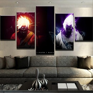 Wall Art Home Decoration Canvas Naruto 5 Pieces Anime Printed Painting Modular Pictures Poster Modern For Living Room Framework(China)