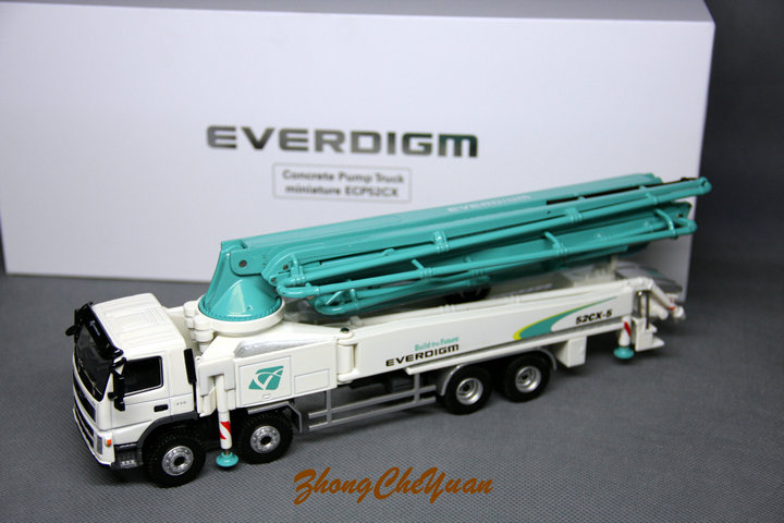 1:50 VOLVO EVERDIGM 52CX 5 Cement Concrete Pump Truck Engineer Machinery Vehicle DieCast Toy Model Collection,Play, Decoration
