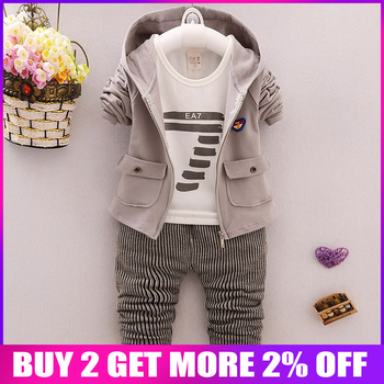 BibiCola toddler Clothes Baby Boy Clothing set Sport Suits  fashion Hooded   +T-shirt + Pants 3 pcs Boys Tracksuit Sets