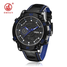 Men Quartz Watch Sports Watches OHSEN Genuine Leather Digital Military Top Fashion Casual Relogio Masculino Outdoor