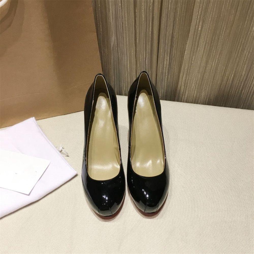 Stkehidba de mujer de cuero genuino bombas punta redonda zapatos de tacón alto zapatos de mujer zapatos de marcas de lujo zapatos de cuero negro de charol 34 41-in Zapatos de tacón de mujer from zapatos    1