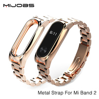 Mijobs New Metal Straps For Xiaomi Mi Band 2 Bracelet Strap Miband 2 Wristband Replacement Smart