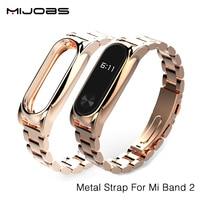 Mijobs New Metal Straps For Xiaomi Mi Band 2 Bracelet Strap Miband 2 Wristband Replacement Smart