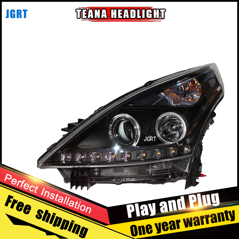 2PCS Car Style LED headlights for Nissan TEANA 2008 for TEANA head lamp LED DRL Lens Double Beam H7 HID Xenon bi xenon lens hireno headlamp for 2013 2015 nissan tiida headlight assembly led drl angel lens double beam hid xenon 2pcs