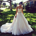 Princess Ball Gown Wedding Dresses with Crystal Belt Ruched Sweetheart V Backless Country Rustic Elegant Bridal Dress Customize