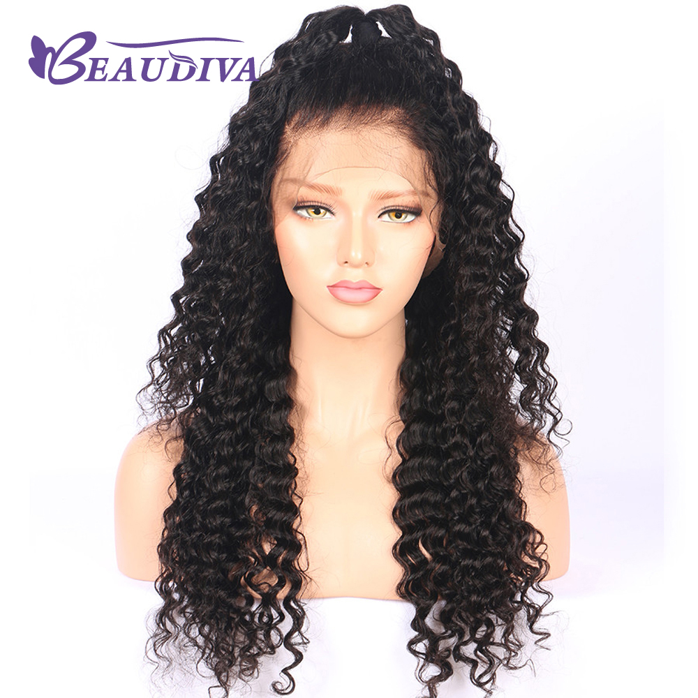 BEAUDIVA Human Hair Wigs For Black Women Color 1B Brazilian Remy Lace Front Wig Deep Wave Pre Plucked With Baby Hair