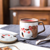 EECAMAIL Japanese Hand painted Mugs With Cover Spoon Large capacity Cup Ceramic Creative Cup Lovers Cup Mug Cat Ceramic Cup