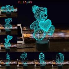 Teddy Bear 3D Illusion Lamp Colorful LED Table Lamp Kids Birthday Gift Night Light for Children's Holiday Present cute teddy bear led night lamp 3d illusion hoom decoration bedroom light child kid baby nightlight christmas hat lamp teddy bear