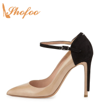 Shofoo Women Pumps Black Point Toe Crossed Strap High Stilleto Heels Pumps Small Size 5 14 S