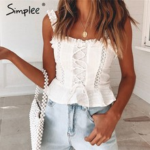 Simplee Sexy lace cotton women tank tops Strap ruffle white pleated crop top female Summer hollow out lace up camisole tops 2019(China)