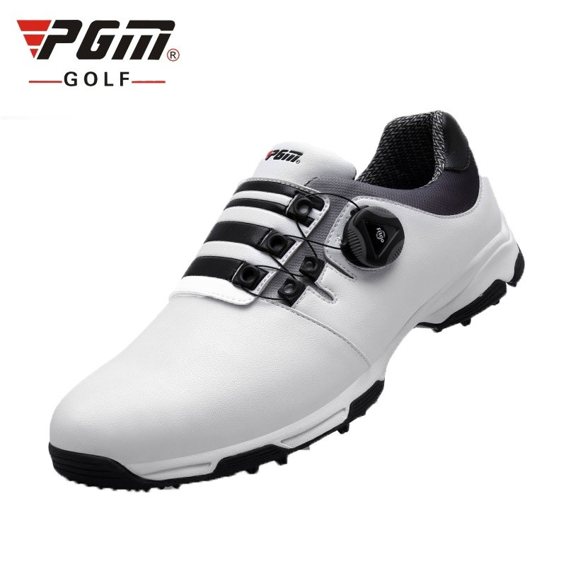 2018 Golf Shoes Mens Leather Waterproof Sneakers Laces Activities Nail Automatic Revolving Spikes Breatheble Golf Shoes D0472