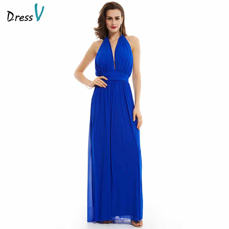 Dressv Dark Royal Blue Evening Dress Cheap Halter Neck Backless A Line Floor Length Wedding Party Formal Dress Evening Dresses