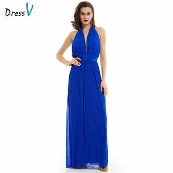 ee300bff08 Dressv oscuro azul real vestido de noche barato del cuello del halter  backless una línea de