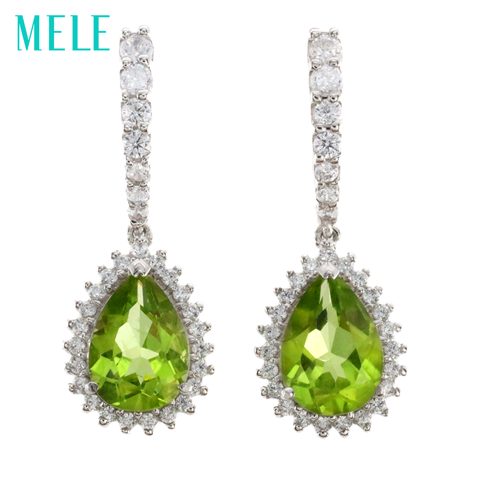 все цены на MELE Natural peridot silver earring, pears 7mm*10mm, green and yellow color, professional stone cutting, fine jewelry for women онлайн