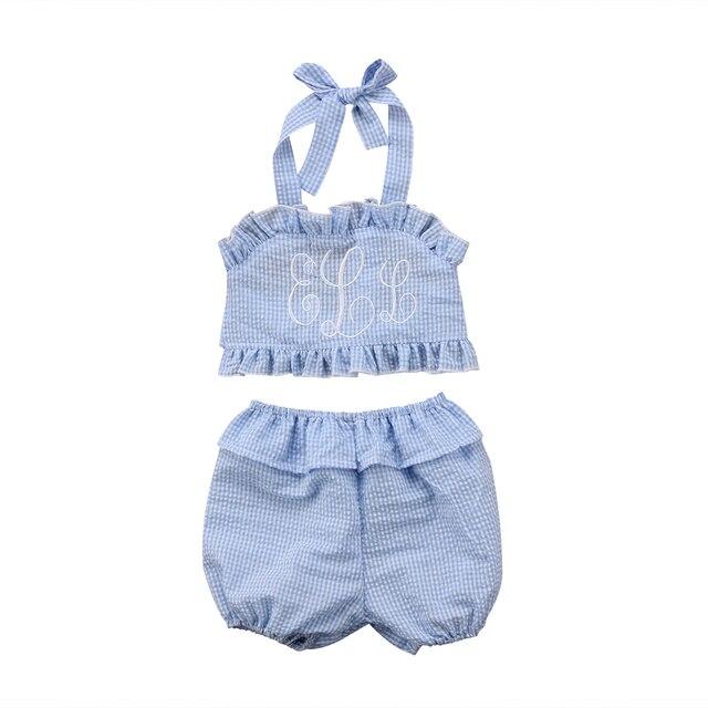 Monogrammed Baby Kids Girl Clothes Set Shirt + Short Cotton ...