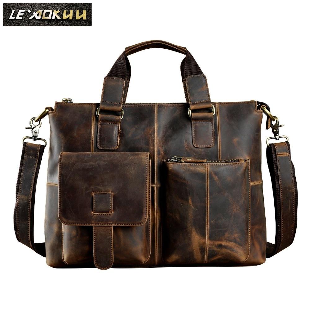Men Original Leather Design Antique Retro Travel Business Briefcase 15 6 Laptop Case Portfolio Bag Shoulder