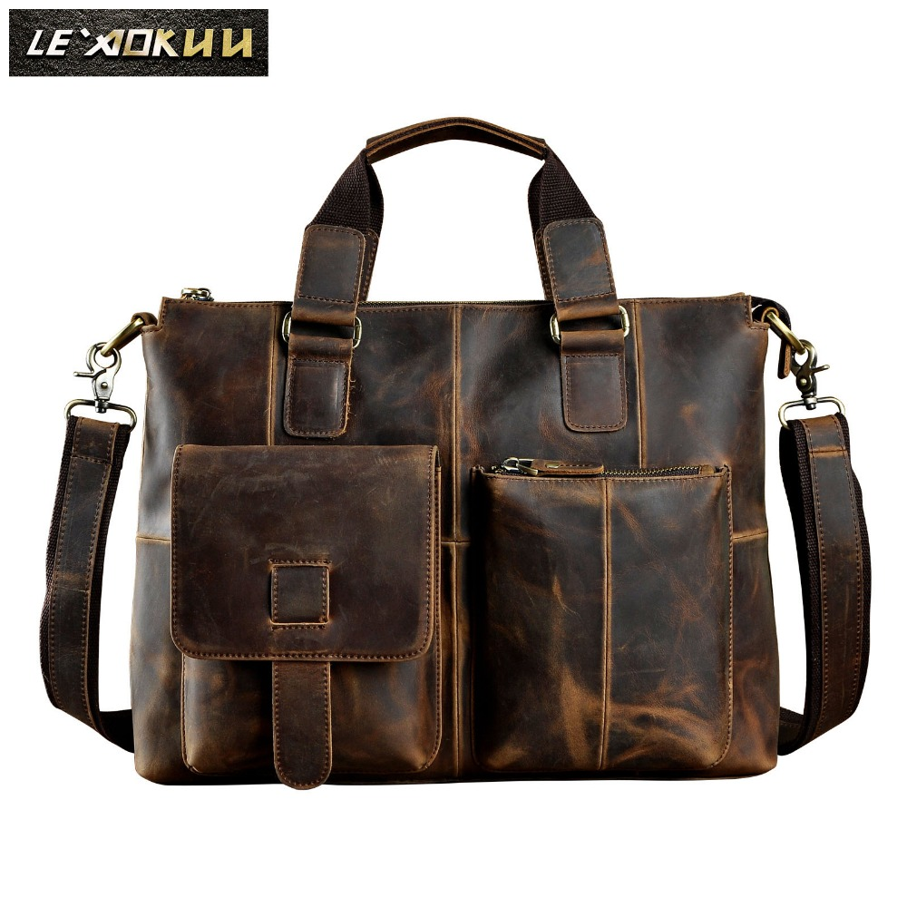 "Men Original Leather Design Antique Retro Travel Business Briefcase 15"" Laptop Case Portfolio Bag Shoulder Messenger Bag B260 d-in Briefcases from Luggage & Bags    1"