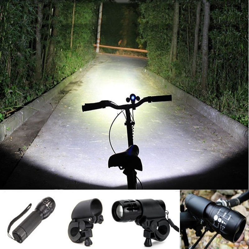 Linterna LED montaje de clip antorcha luz delantera de la bicicleta soporte linterna bicicleta