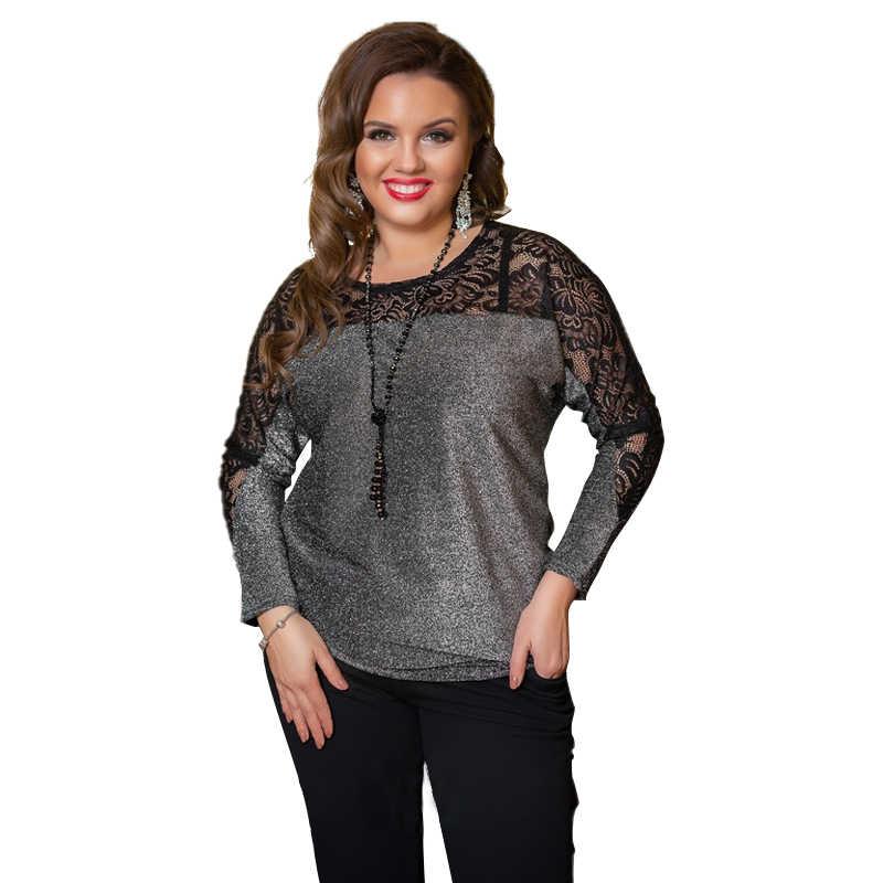 2019 женские топы Плюс Размер блузка женская Ультрамодная блузка с кружевными вставками 5XL 6XL металлическая трикотажная черная рубашка с длинным рукавом Camisa Feminina