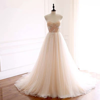A line Strapless Tulle Lace Appliques Elegant Simple Wedding Dresses Real Picture Vestido De Noiva Custom Made RP34