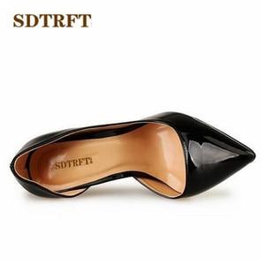 Image 4 - SDTRFT 2019 artı: 40 44 45 46 47 48 49 kırmızı siyah 14cm ince topuklu seksi sandalet süet Stilettos gece kulübü pompaları kadın düğün ayakkabı