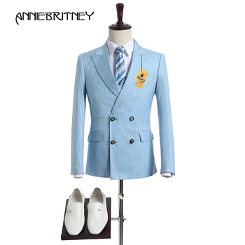 New Brand Light Blue Stripes Suit Men Double Breasted Tuxedo Slim Fit 2 Piece Groom Blazer Prom Wedding Suits Ternos Jacket+Pant