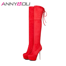 ANNYMOLI Women Thigh High Boots Over the Knee Boots Platform High Heels Boots Sexy Autumn Shoes Large Size 34-43 Femmes bottes