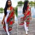 2016 Roupas de Verão Mulheres Africano Dashiki Tecido Longo Cardigans Vestuário Africano Dashiki Vermelho Do Vintage Jaqueta Plus Size