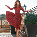 Red Plaid Dress Long Sleeve Autumn Dress Tunic Bowknot Casual Party Midi Dress  Elegant Vintage Vestido De Festa Women  Clothing