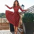 Xadrez vermelho Vestido de Manga Longa Outono Vestido Túnica Bowknot Casual Partido Midi Vestido Elegante Do Vintage Vestido De Festa Roupas Femininas