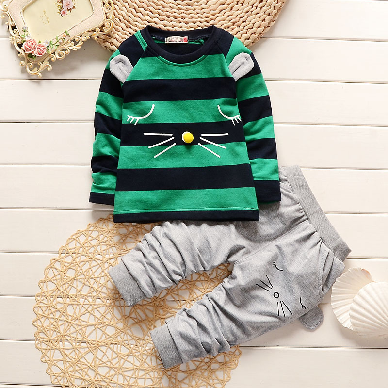 100 Cotton Boys Cartoon Long Sleeve 2 Pieces Clothing Set For 1 2 3 4 Years Children Autumn Clothes Striped Shirt And Pants Suit цены онлайн