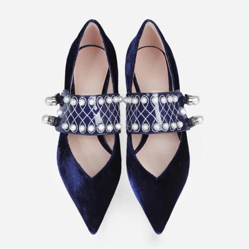 Printemps Blue Talon Mary royal Petite De Taille Velours Confortable Obuv Des Travail Talons Femmes Brut Black Hauts Jane Mode Chaussures black rwqHxgr0