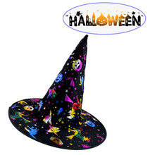 Wholesale 10pcs Witch Hats Masquerade Ribbon Wizard Hat Party Hats Cosplay Costume Accessories Halloween Party Fancy Dress Decor(China)