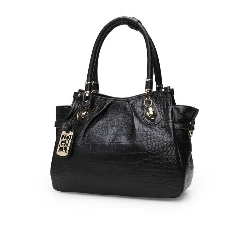 HONGU Leather handbags large-capacity crocodile pattern handbag wild simple shoulder bag header leather large bag D