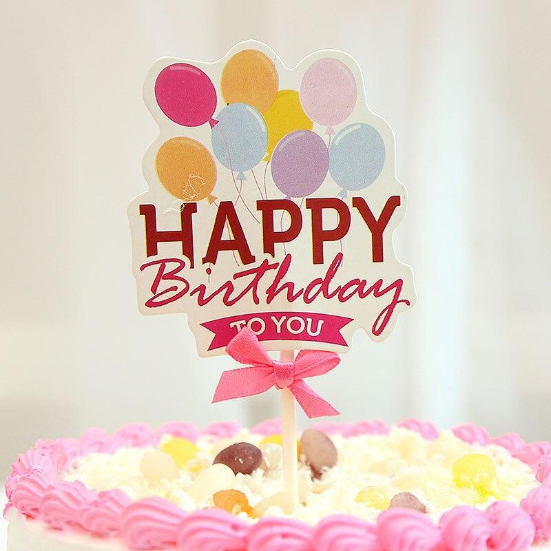 10setslot Creative Birthday Cake Card Insert Party Flags Lollipop