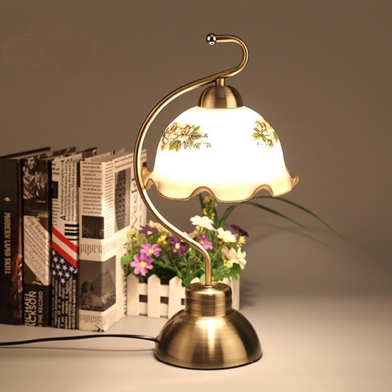 Современные сенсорный прикроватная тумбочка для спальни гостиная Европейский Стиль Сад Винтаж, творческий свет настольная лампа lo81820