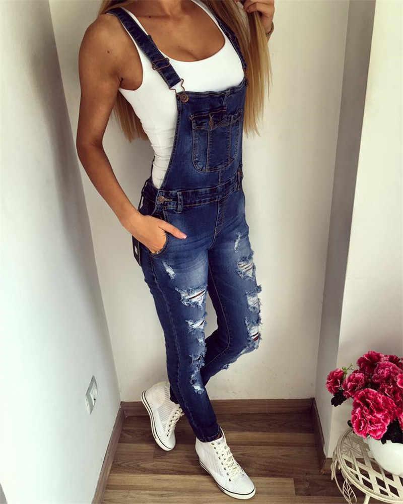 2019 Весна Женская мода комбинезоны для девочек рваные джинсы для женщин цельный комбинезон сексуальный боди комбинезон женский M28