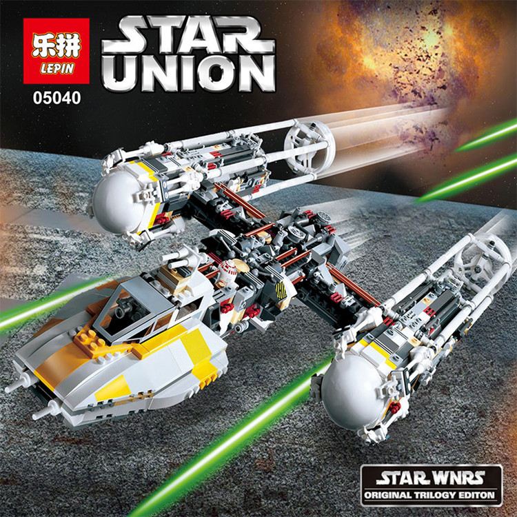Lepin 05040 1473pcs Y-wing Attack Starfighter Building Block Assembled brick Star War Series Toys Compatible with legoed 1013 lepin 05040 star wars y wing attack starfighter model building kits blocks brick toys compatiable with lego kid gift set
