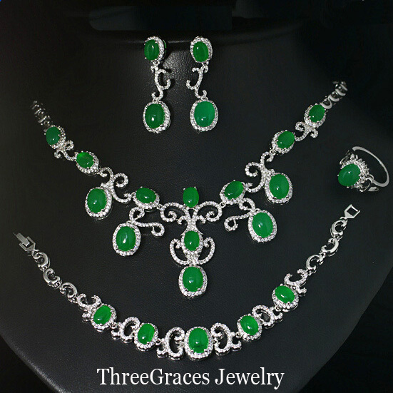 Vintage White Gold Plated Natural Green Jade Women Earrings Necklace Bracelet And Ring Jewelry Set For Wedding Party JS133