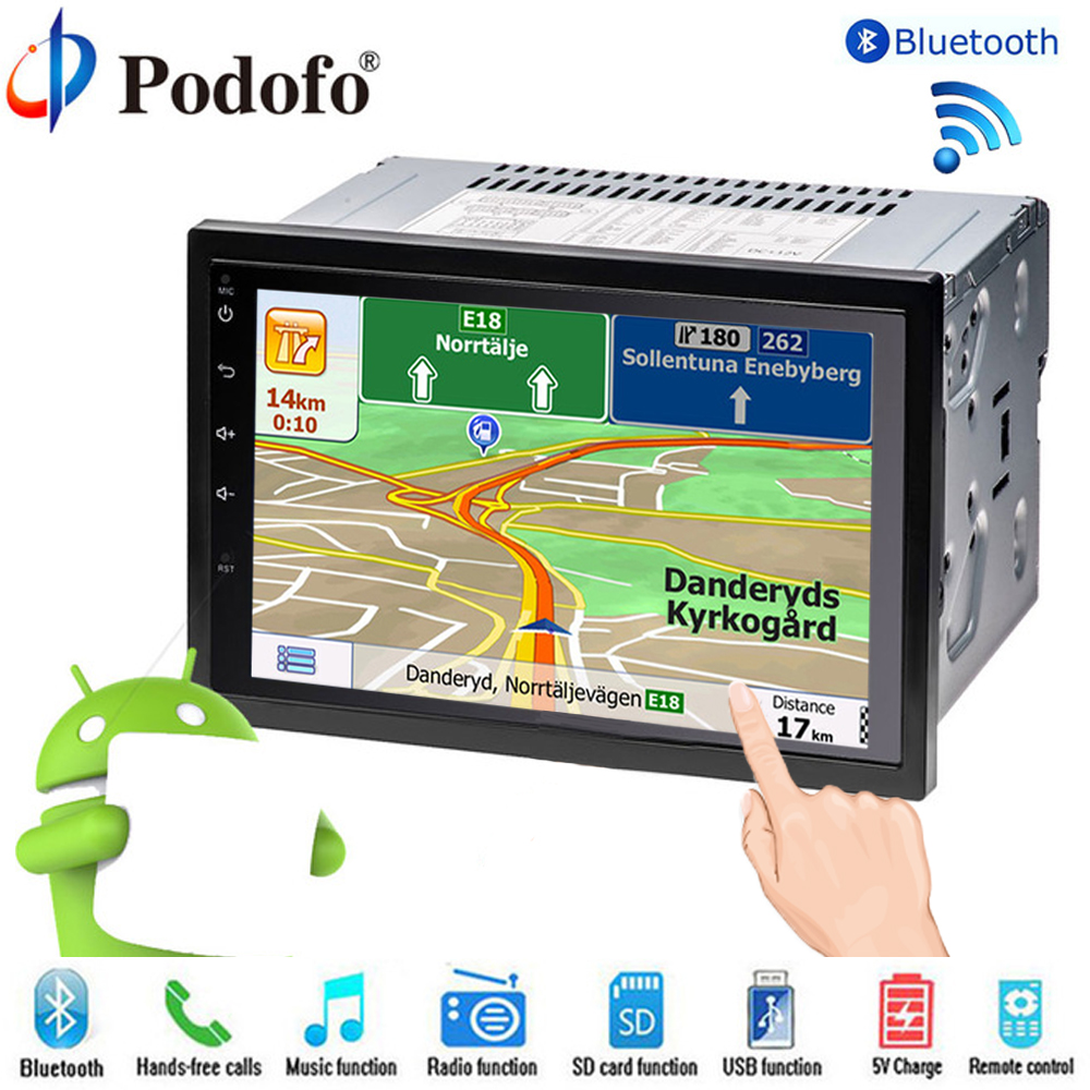 Podofo 2 Din car radio Player 7″ LCD GPS Navigation Touch Screen Bluetooth Multimedia Car Audio Android Media Player For Nissan
