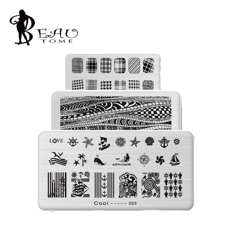 6*12cm Stainless Steel Nail Art Stamping Plates Geometric patterns ...