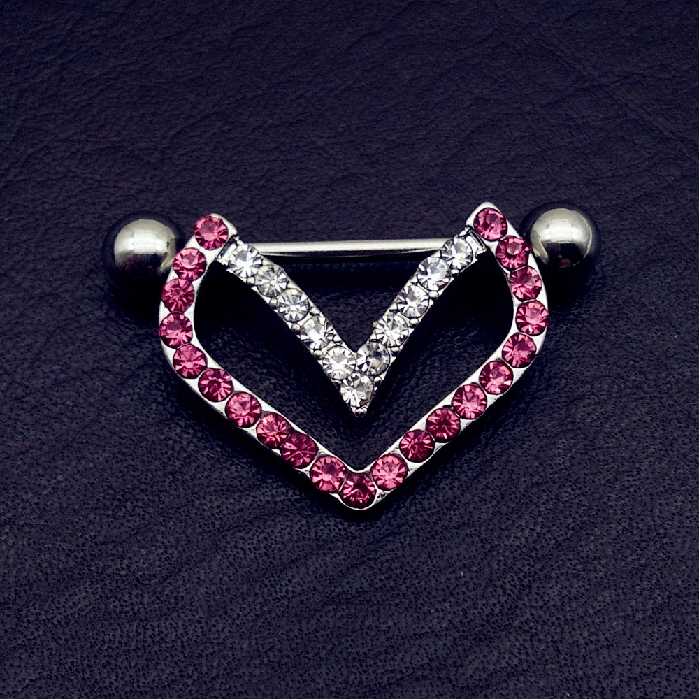 1 pair rhinestone nipple Piercing Shield Bars 316L Surgical stainless Steel  vintage heart nipple rings Women Couple Body jewelry-in Body Jewelry from  ... a41bfddda80a