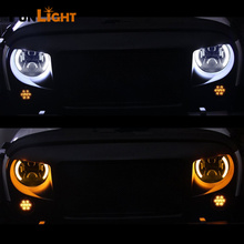 1 Pair 7″ Inch LED Headlight With Halo Angel Eyes For Lada 4×4 urban Niva Jeep JK Land rover defender Hummer Led Headlamp