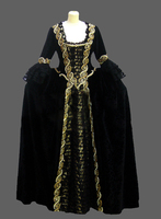 Cheap Gothic Dresses Patent Leather Victorian Inspired Dress Black Gothic Dress/southern belle costume victorian costume