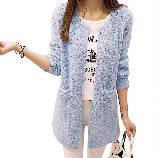 2017 Autumn Chic Korean style women O neck cardigans sweater sweet lady long sleeve knitted loose slim peplum waisted sweaters