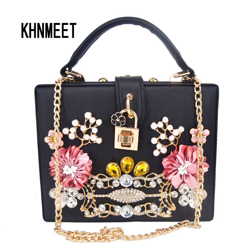 Black Flower Crystal Evening Bag Box Mini Shoulder Bag Women messenger Bags Mini Chain Flap Crossbody