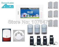 2014 hot selling High level 7 inch touch screen 868MHZ Home alarm system+smoke detector,flash siren,quad band GSM alarm system