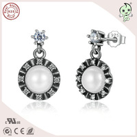 Hot Sale High Quality European Popular 925 Real Silver Pearl Drop Earring